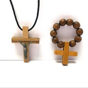 Wood Finger Rosary & Cross Necklace